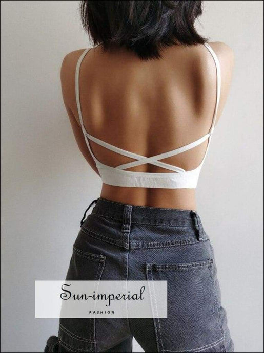 Sun-imperial V Neck Rib Seamless Bra with Cross back Crop top High Street Fashion SUN-IMPERIAL United States