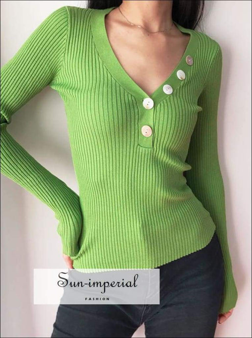 Sun-imperial V Neck Ribbed Jumper with Button detail Deep Rib Knit top High Street Fashion SUN-IMPERIAL United States