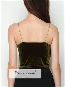 Sun-imperial Velvet Straps Camis Girls' Straps Crop Tops Camisoles High Street Fashion