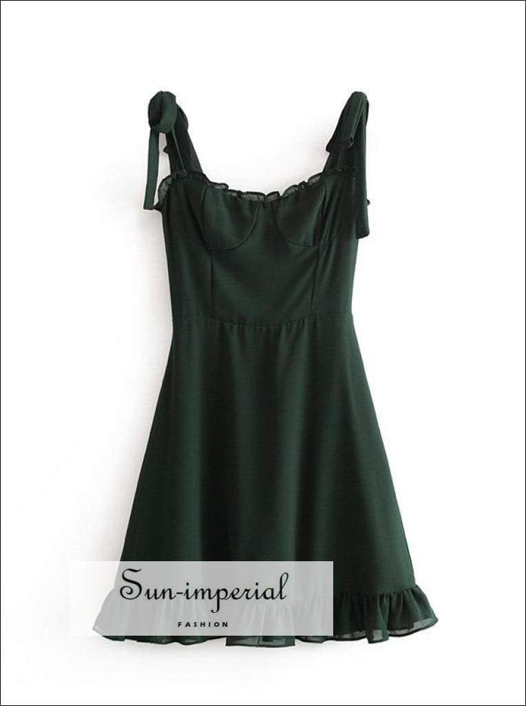 Sun-imperial Vintage Adjust Camistraps Women Dress Green Party Dress Slim Chiffon Ruffles Usa
