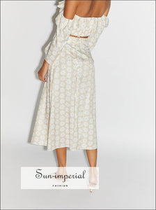 Sun-imperial Vintage Beach Style 2 Piece Skirt Set off Shoulder Long Sleeve Crop top Maxi piece, piece set, fall outfit, full length dress,
