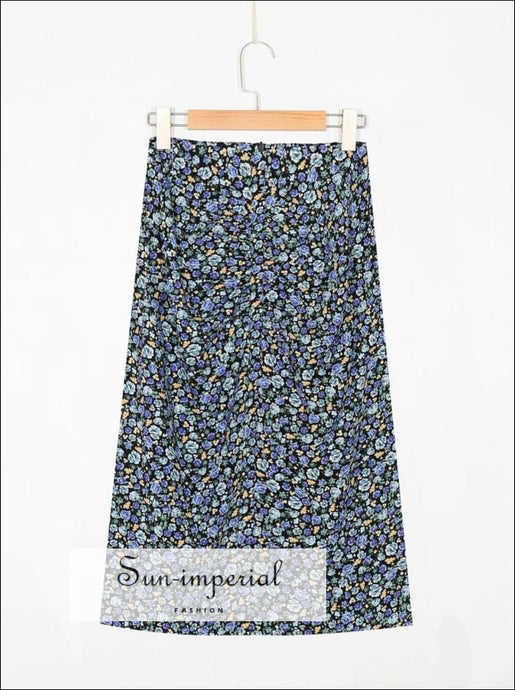 Sun-imperial Vintage Blue Rose Floral Draped Vintage Midi Skirt