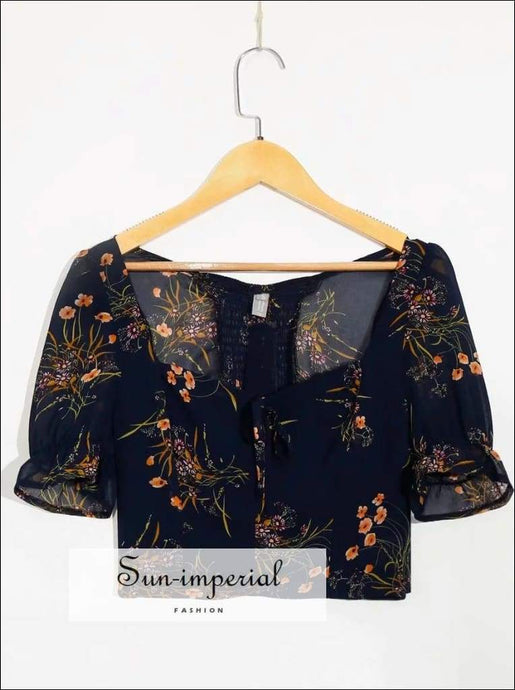 Sun-imperial Vintage Floral Blouse top Women Spring Square Collar Midriff Baring Mini top Vintage