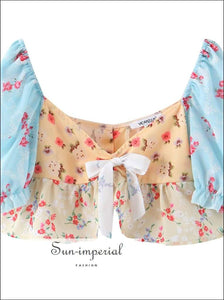 Sun-imperial Vintage Floral Women Blouse Shirt Spring Square Collar Bow Midriff Baring Crop top