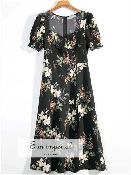 Sun-imperial Vintage Floral Women Midi Dress Spring Square Collar Patchwork Vacation SUN-IMPERIAL United States