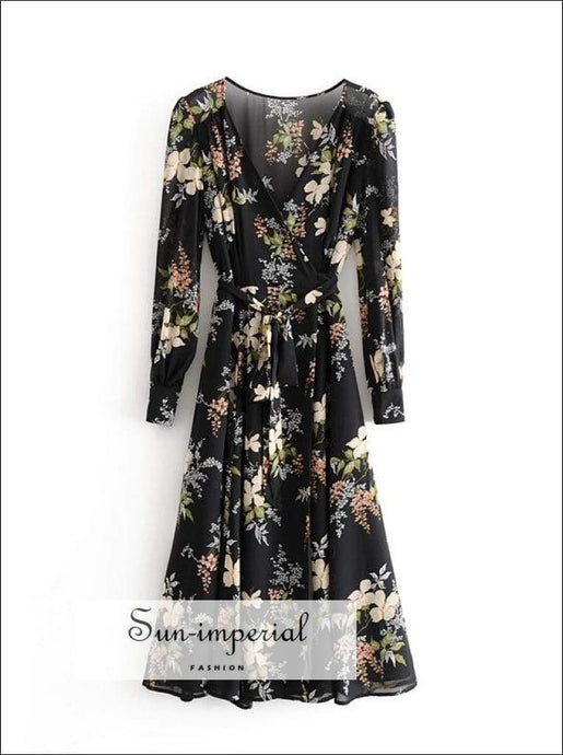 Sun-imperial Vintage Green Floral Women Long Sleeve Midi Dress Spring Cross V Neck Vacation SUN-IMPERIAL United States