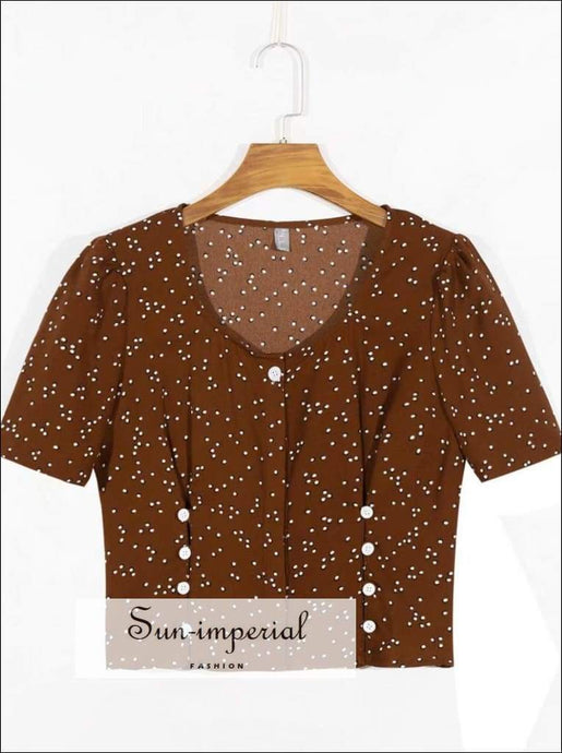 Sun-imperial Vintage O Neck Wrap Women Blouse Brown Double Dots Print Shirt Eu