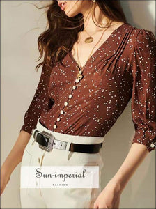 Sun-imperial Vintage Slim V Neck Brown dot Buttoned top