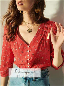 Sun-imperial Red Vintage Slim V Neck Rose Print Buttoned top
