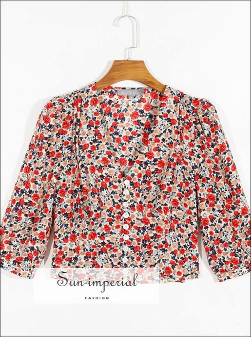 Sun-imperial Vintage Slim V Neck Red Floral Buttoned top SUN-IMPERIAL United States