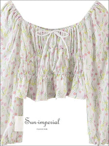 Sun-imperial Vintage Square Collar Floral Crop top Blouses Women Lantern Sleeve Bow Lace up Long
