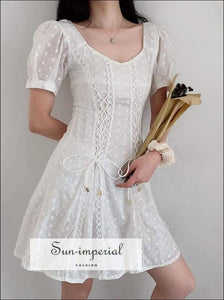 Sun-imperial Vintage Square Collar White Lace Woman Dresses Slim Waist Summer Dress Mini vintage SUN-IMPERIAL United States