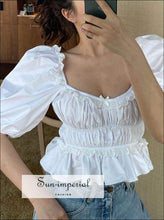 Sun-imperial Vintage Square Collar Women Blouses Tops Puff Sleeve Bow Ruffles Lace Slim High Waist