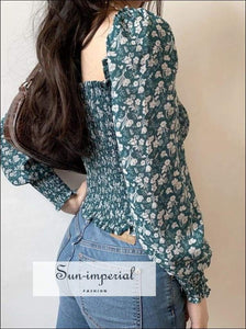 Sun-imperial Vintage Square Neck Ruched Woman Blouses Shirts Puff Sleeve Floral Print Short Female
