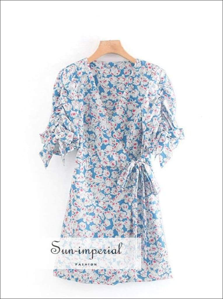 Sun-imperial Vintage Women Dress Flower Print Puff Sleeve High Waist Fashion Short Spring Summer vintage SUN-IMPERIAL United States