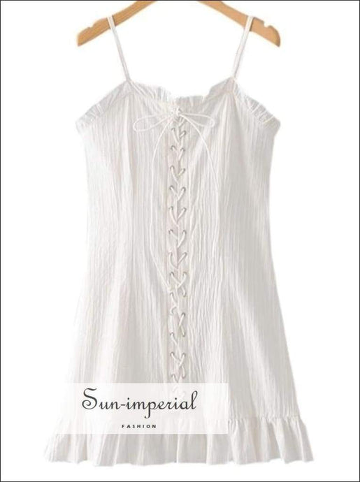 Sun-imperial White Dress Summer Lace up Women Dresses Mini with Ruffles