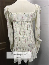 Sun-imperial White Floral Print Ruched Bust Mini Dress Long Puff Sleeve