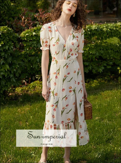 Sun-imperial White Floral Vintage Dress Short Flare Sleeve Maxi with front Split SUN-IMPERIAL United States