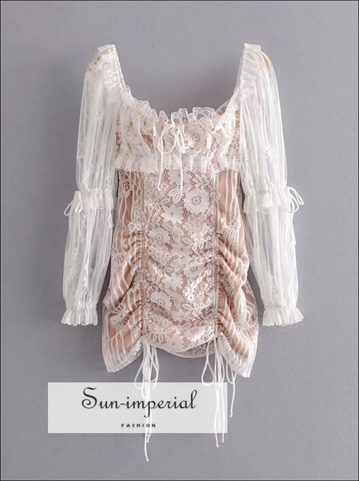 Sun-imperial White Lace Ruched Bust Long Sleeve Mini Dress