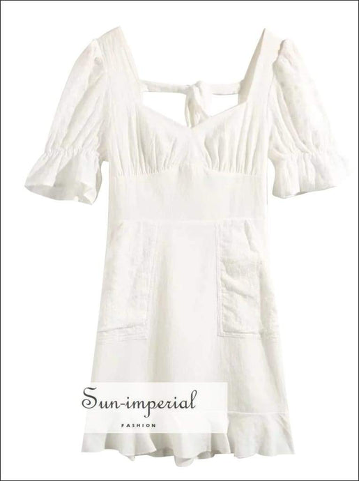Sun-imperial White Vintage Mini Dress Ruched Bust Flare Sheer Short Sleeve Cut out back Ruffle Edges