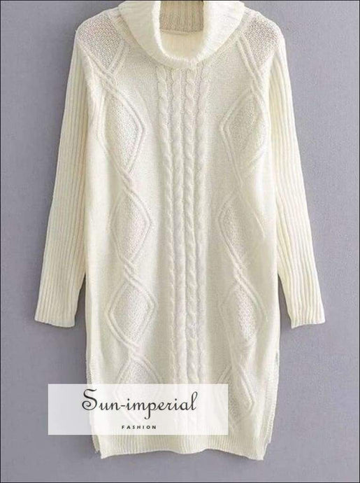 Sun-imperial Women Autumn Winter Long White Sweaters Solid Color Turtleneck Pullovers Knitted