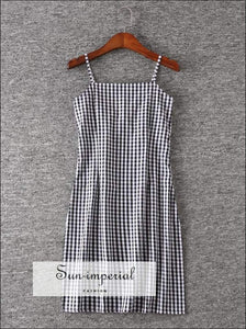 Sun-imperial Women Black and White Plaid Spaghetti Strap Dress Gingham Print Cami Dress High Street