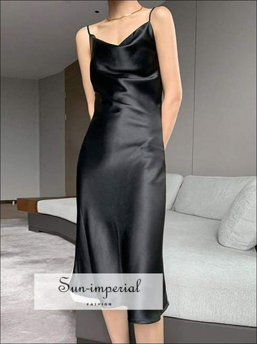 Sun-imperial Women Black Sleeveless Cami Strap V Neck Soft Satin Slip Long Dress elegant style, harajuku PARTY DRESS, Brown Dress, Green
