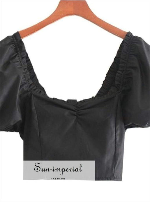 Sun-imperial Women Black Square Collar Short Blouse Puff Sleeve top