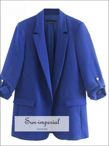 Sun-imperial Women Blazer Jacket Casual Blue Blazers Autumn Ladies Coat Office Jacket