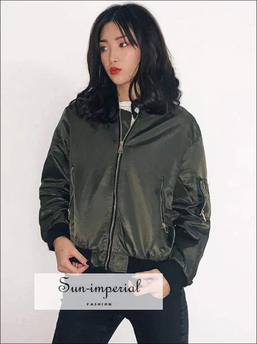 Sun-imperial Women Bomber Jacket in Green Nylon Bomber Outerwear High Street Fashion