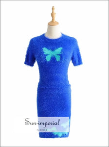 Sun-imperial Women Butterfly Fuzzy Crop T-shirt & Skirt Co-ord High Street Fashion SUN-IMPERIAL United States