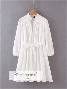 Sun-imperial Women Button front Jacquard Shirt Smock Dress with Waist and Frill detail High Street
