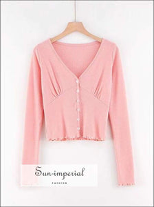 Sun-imperial Women Button through Long Sleeve Crop Frill Hem top High Street Fashion