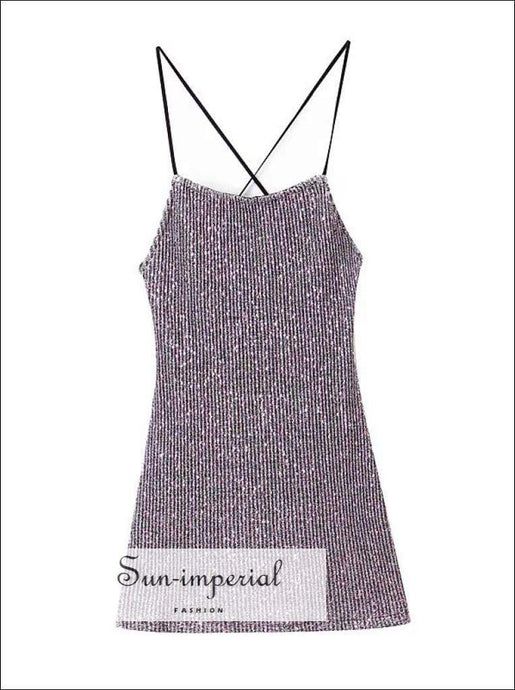 Sun-imperial Women Cami Stap Sequin Mini Dress with Cross back Sequin Bodycon Mini Dress High Street
