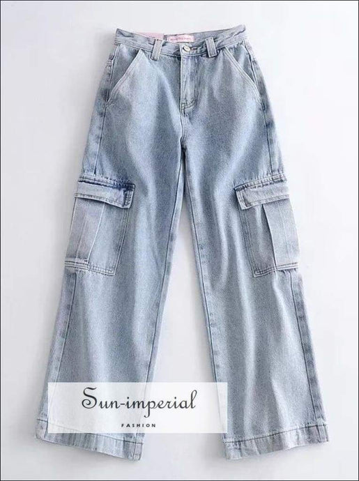 Sun-imperial Women Cargo Pocket Medium Wash Denim Jeans High Street Fashion