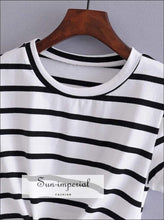 Sun-imperial Women Casual Striped Knot front Tee Crop Tops High Street Fashion SUN-IMPERIAL United States