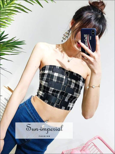 Sun-imperial Women Check Corset with Belt Details Casual Tube top High Street Fashion SUN-IMPERIAL United States