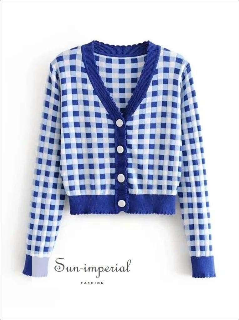 Sun-imperial Women Contrast Trim Check Cardigan in Blue Crop Knit top High Street Fashion