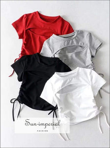 Sun-imperial Women Cut out front Crop Tee with Shirred Drawstring Sides Cotton Slim Tee High Street