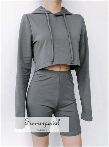 Sun-imperial Women Drawstring Crop Hoodie & Knee Length Shorts Co-ord High Street Fashion