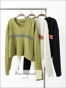 Sun-imperial Women Drop Shoulder Block Striped Rib Jumper Loose Pullover Sweaters High Street