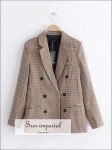 Sun-imperial Women Dual Pocket Checked Jacket Double-breasted Plaid Jacket High Street Fashion
