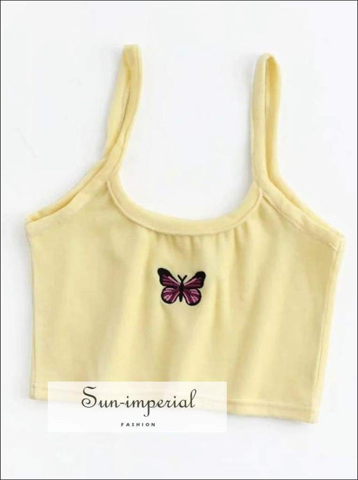 Sun-imperial Women Embroidery Butterfly Velvet Tank top High Street Fashion