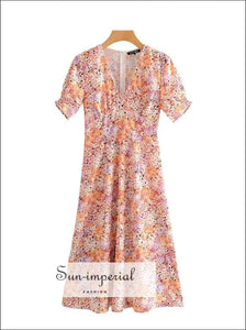 Sun-imperial Women Floral Print Midi Dress Short Sleeve V-neck Summer Ladies Dresses SUN-IMPERIAL United States