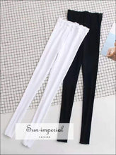 Sun-imperial Women High Waist Frill Trimming Ribbed Leggings Street Fashion SUN-IMPERIAL United States