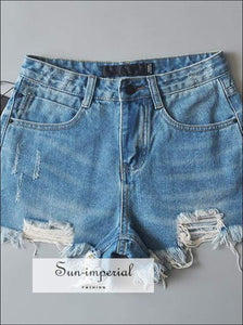 Sun-imperial Women High Waist Ripped Denim Shorts Denim side Split Shorts High Street Fashion