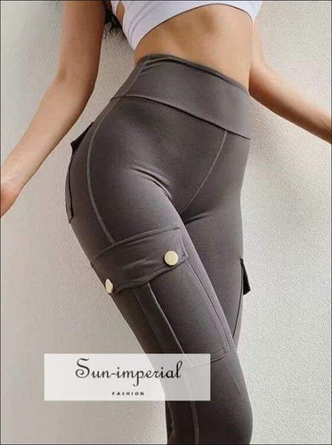 Sun-imperial Women High Waist Training Leggings with Press-stud Pockets Details Street Fashion SUN-IMPERIAL United States