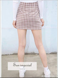 Sun-imperial Women High Waist Two Small front Slits Plaid Mini Skirt in Brown High Street Fashion