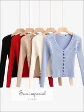 Sun - Imperial Women Knitted Pearl Buttons Long Sleeve Vintage Cardigan Slim Fit
