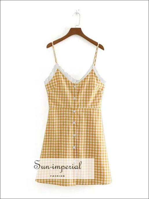 Sun-imperial Women Lace Trimmed Sweetheart Neckline Buttons front Sundress in Yellow Gingham High